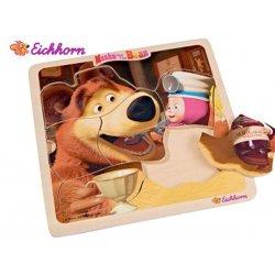 Eichhorn Drewniane Puzzle Układanki Masza i Niedźwiedź Postać Masza Z Dżemem