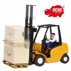 Dickie Żółty Wózek Widłowy Cargo Master + Palety i Figurka Kierowcy