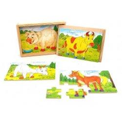 NOVA Układanka drewniana Puzzle zwierzęta 4 wzory