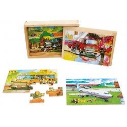 Puzzle pociąg w skrzynce - drewno puzzle NOVA
