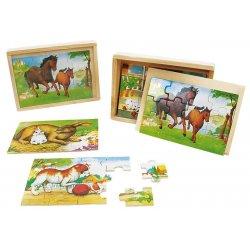 Puzzle koniki - zwierzęta 4w1 w skrzynce - drewno NOVA