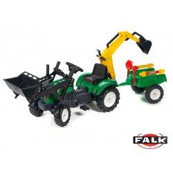 FALK Traktor RANCH zielony z łyżką, ładowarką i przyczepą do piasku