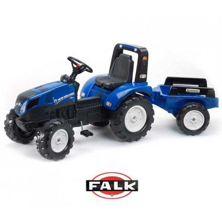 FALK Duży Traktor z przyczepką New Holland