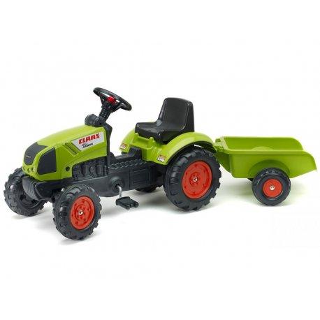 Falk Traktor Claas na pedały z przyczepą jednoosiową Klakson
