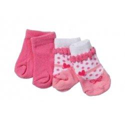 Baby Born Różowe Różowo-Białe Z Kokardami Skarpetki Dla Lalki 43 cm