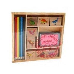 Stempelki z kolorowymi ołówkami - drewno NOVA