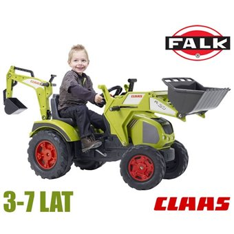 CLAAS Duży Traktor na pedały obrotowy fotel Łyżka Koparka 3-7 lat FALK