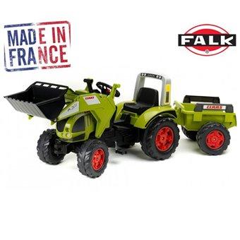 Claas Ares Duży Traktor na pedały z przyczepą FALK + Łyżka
