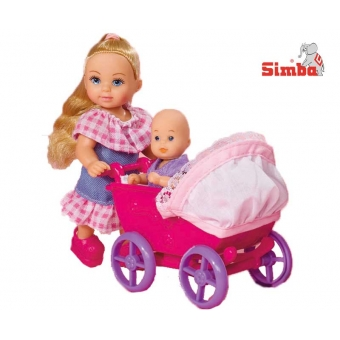 Simba Lalka Evi z Różowym wózkiem i laleczką