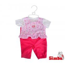 Simba Ubranko dla lalki New Born Baby w kwiatki + pieluszka grzechotka Gratis
