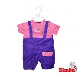 Simba Ubranko dla lalki New Born Baby fioletowe + pieluszka grzechotka Gratis