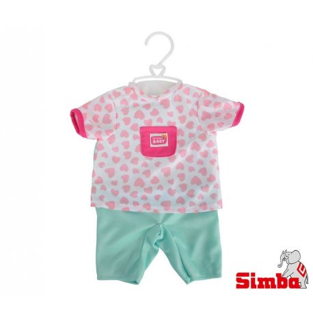 Simba Ubranko dla lalki New Born Baby w serduszka + pieluszka grzechotka Gratis