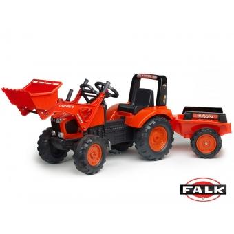 Traktor KUBOTA z łyżką i przyczepą FALK