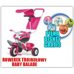 Smoby Rowerek Trójkołowy Ciche Koła Baby balade 3 w 1 Różowy + Piłka Disney GRATIS