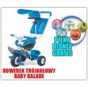 Smoby Rowerek Trójkołowy Ciche Koła Baby balade 3 w 1 Niebieski + Piłka Disney GRATIS