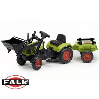 Traktor CLAAS ARION zielony z przyczepą na pedały FALK