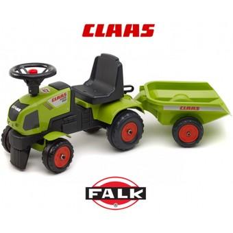 Traktor do odpychania Falk - Pchacz Chodzik Jeździk Baby Claas Axos + Przyczepa
