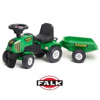 Falk Traktorek do odpychania - Chodzik Jeździk + przyczepka Zielony