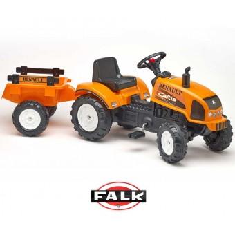 Duży traktorek Renault Celtis 436RX Pomarańczowy z otwieraną maską FALK + Przyczepka