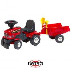 Falk Traktor Chodzik z przyczepą czerwony jeździk Mustang + zestaw do piasku