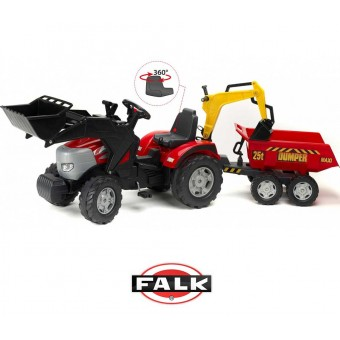 FALK Wielki Traktor McCormick Przyczepa Łyżka Koparka