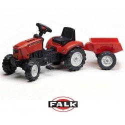 FALK Lander czerwony Traktor na pedałki z przyczepką