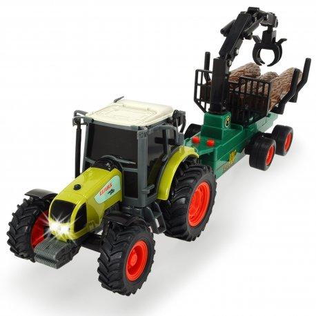 Dickie Traktor Farm Worker z Przyczepą do Drewna Ruchome Elementy