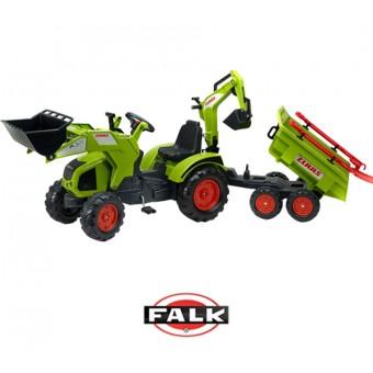 CLAAS AXOS Ogromny traktor z Przyczepą, Łyżką i Spychaczem FALK