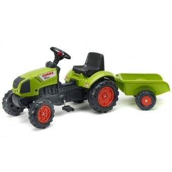 Traktor Claas na pedały z przyczepą jednoosiową Klakson Falk