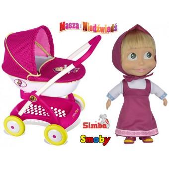 SMOBY Wózek dla lalek Masza i Niedźwiedź + Lalka Masza