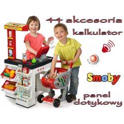Smoby Supermarket z Kasą Elektroniczny Czerwony + Wózek na Zakupy