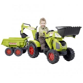 Traktor na Pedały CLAAS AXOS Ogromny z Przyczepą, Łyżką i Spychaczem FALK