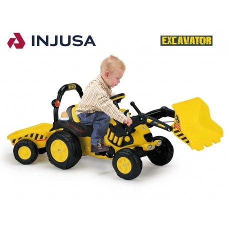 Injusa Traktor na pedały EXCAVATOR Światło Dźwięk + Łyżka Przyczepa