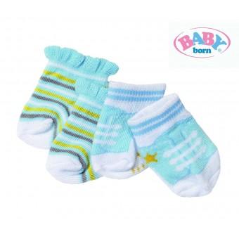 Baby Born Skarpetki dla lalki 43 cm Biało żółte niebieskie 2 pary
