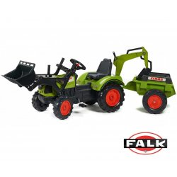 FALK Traktor Claas na pedały przyczepa łyżka koparka