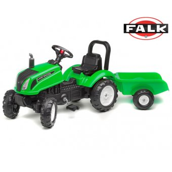 Zielony Traktor na pedały Falk Land Master z przyczepą