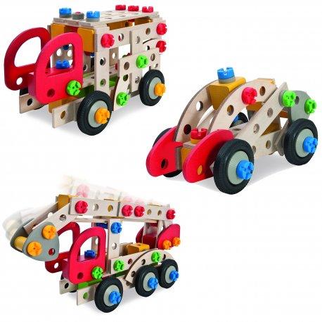 Klocki dla dzieci konstrukcyjne 3 w 1 samochód Pojazdy Eichhorn drewniane Wóz Strażacki