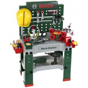 Bosch warsztat z narzędziami z wkrętarką 150 elementów światło dźwięk Klein