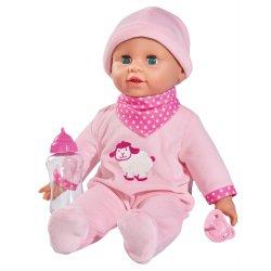 Lalka Laura gaworząca z butelką i smoczkiem Simba