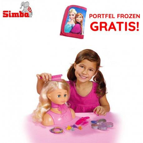 Simba Głowa do Stylizacji z akcesoriami lalka Steffi + kosmetyki do makijażu