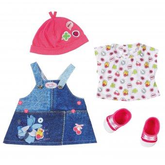 Jeansowa sukienka z czapką i bucikami dla lalki Baby Born 43 cm