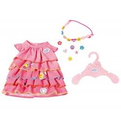 Sukienka z falbanami i przypinkami dla lalki Baby Born 43 cm + opaska