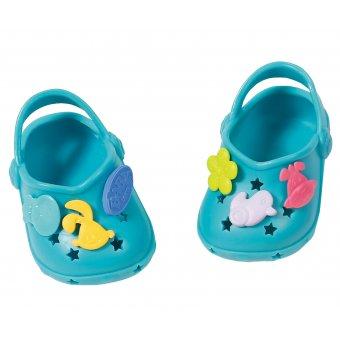 Buciki z przypinkami dla lalki Baby Born 43 cm Crocs w kolorze błękitnym