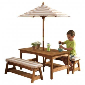 KidKraft Ogrodowy drewniany Stół z ławkami i parasolem w kolorze beżowym