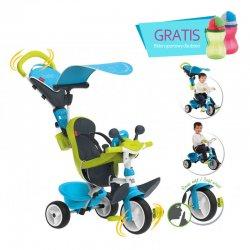 SMOBY Trójkołowy ROWEREK 3w1 Baby Driver ciche koła Komfort niebieski + Bidon Gratis