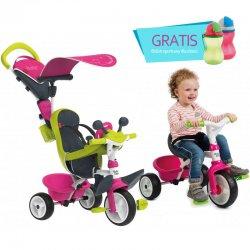 SMOBY Trójkołowy ROWEREK 4w1 Baby Driver ciche koła Komfort różowy + Bidon Gratis