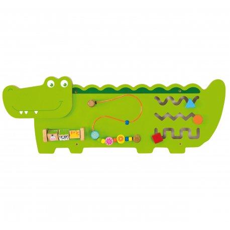 Sensoryczna tablica manipulacyjna drewniana Viga Toys Krokodyl