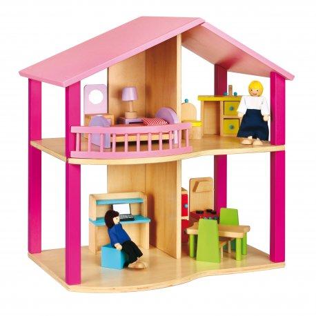 Domek dla lalek Pink z akcesoriami Viga Toys mebelki