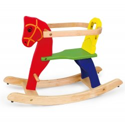 Koń na biegunach kolorowy Viga Toys drewniany