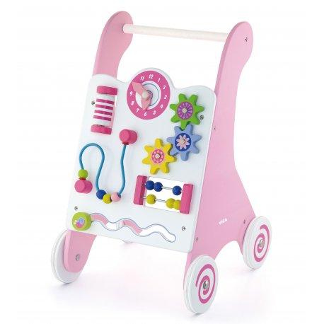 Pchacz dla dzieci Pink drewniany panel edukacyjny Viga Toys